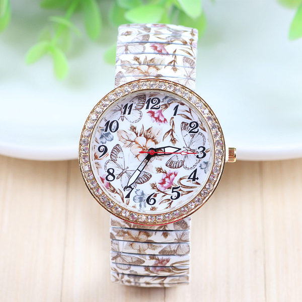 Butterfly Flowers Printed Elastic Stainless Steel Band Watch Watch