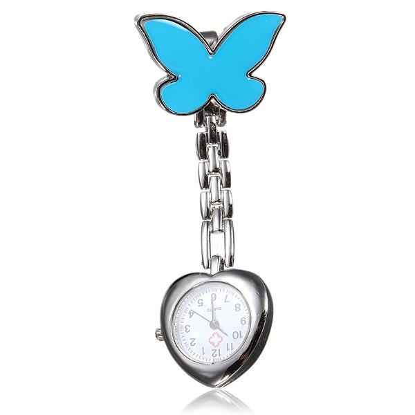 Butterfly Nurse Clip Medical Heart Brooch Stainless Steel Pocket Watch Watch