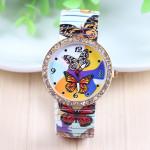 Butterfly Printed Rhinestone Elastic Stainless Steel Watch Watch
