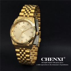 CHENXI CX-004A Crystal Gold Stainless Steel Waterproof Quartz Watch