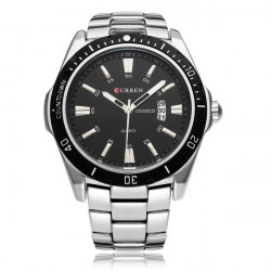 CURREN 8110 Silver Black Date Sport Stainless Steel Men Wrist Watch