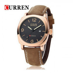 CURREN 8158 Calendar PU Leather Band Quartz Watch