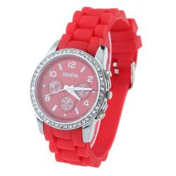 Casual Black Rubber Crystal Women Wrist Quartz Watch
