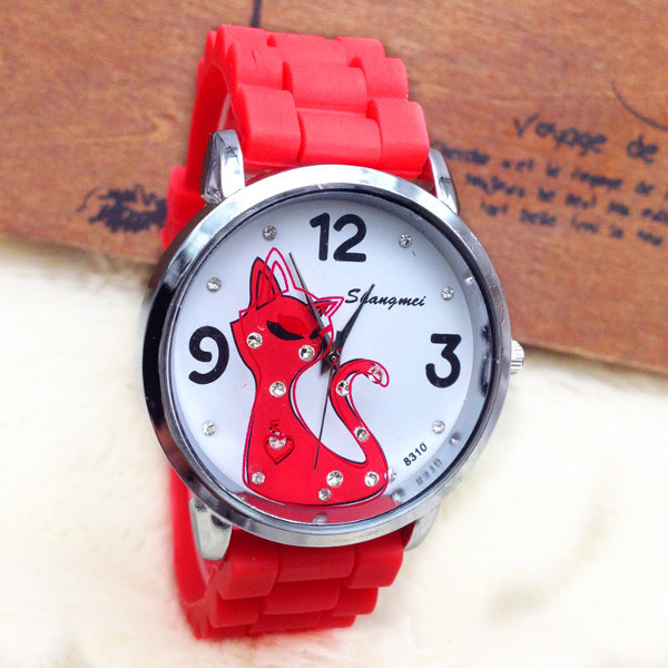 Casual Crystal Cartoon Cat Silicone Band Watch Watch