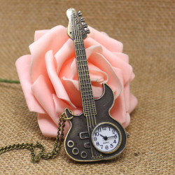 Casual Guitar Shape Design Analog Chain Pocket Watch