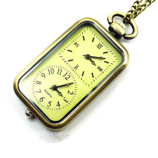 Casual Rectangle Case Double Time Zone Chain Pocket Watch Watch