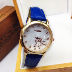 Casual Rhinestone Star Leather Band Wrist Watch