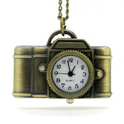 Casual Vintage Camera Design Quartz Chain Pocket Watch