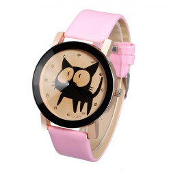 Cat PU Leather Alloy Round Women Quartz Wrist Watch