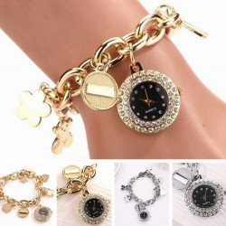 Chain Rhinestone Stainless Steel Bracelet Wrist Watch