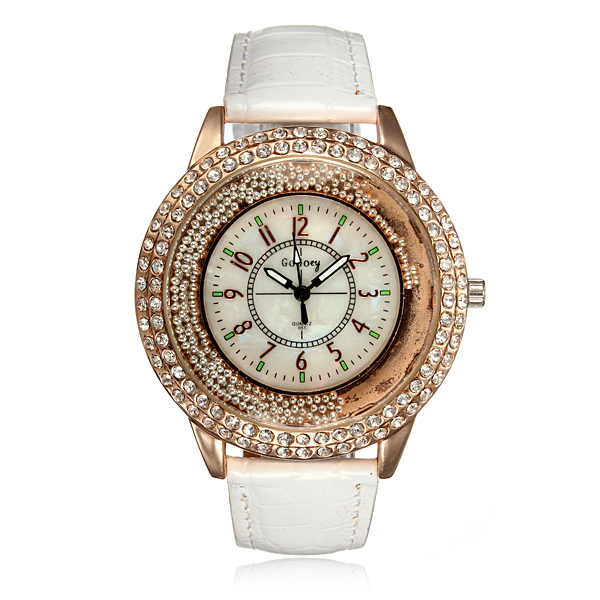 Croc Embossing Shinning Rhinestones Analog Quartz Women Wrist Watch Watch