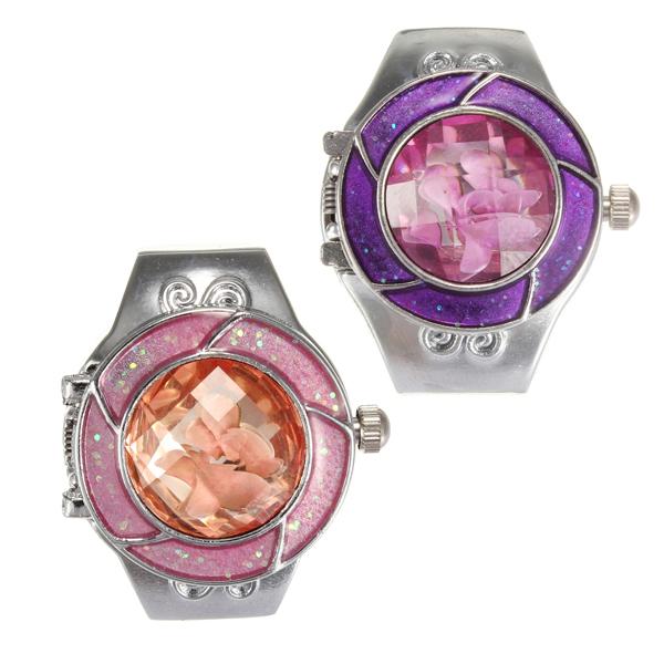 Crystal Flower Pattern Elastic Silver Women Ring Watch 2 Colors Watch