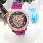 Crystal Leopard Silicone Band Wrist Watch Watch