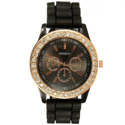 Crystal Silicone Jelly Gel Analog Sport Women Wrist Watch