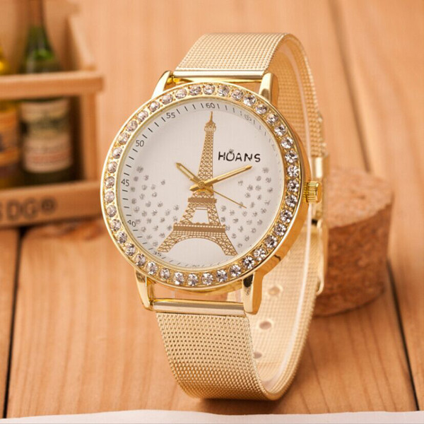 Crystal Tower Gold Stainless Steel Mesh Band Bracelet Wrist Watch Watch