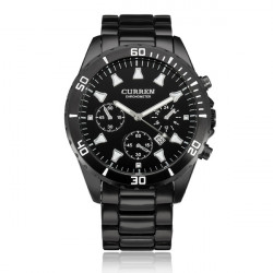 Curren 8039 Black Stainless Steel Date Calendar Round Men Wrist Watch