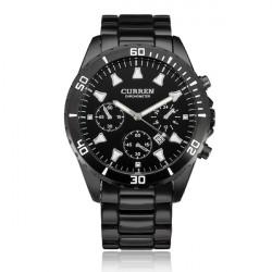 Curren 8039 Black Stainless Steel Date Calendar Round Men Wrist Watch
