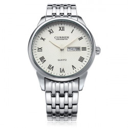 Curren 8086 Silver Stainless Steel Round Roman Date Week Men Watch