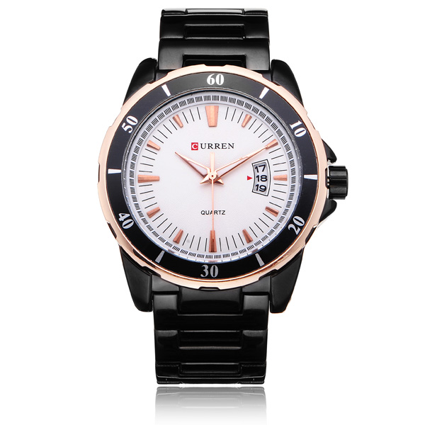 Curren 8108 Black Stainless Steel Number Men Quartz Wrist Watch Watch