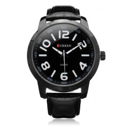 Curren 8115 Black PU Leather Number Big Dial Men Quartz Wrist Watch