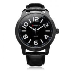 Curren 8115 Black PU Leather Number Big Dial Men Quartz Wrist Watch
