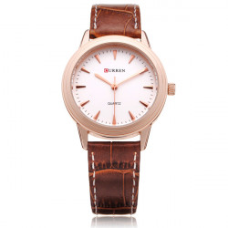 Curren 8119 Brown PU Leather Round Gold Women Quartz Wrist Watch