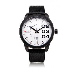 Curren 8125 Brown PU Leather Date Number Round Men Wrist Quartz Watch