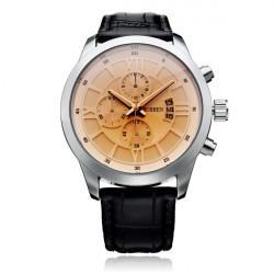 Curren 8137 Black Brown PU Leather 3 Dial Roman Men Quartz Wrist Watch