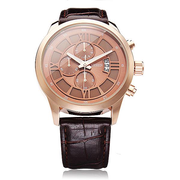 Curren 8137 Brown PU Leather Date 3 Dial Round Men Wrist Quartz Watch Watch