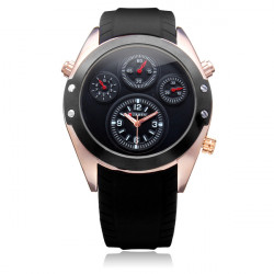 Curren 8141 Sport Black Silicone 4 Dial Gold Men Quartz Wrist Watch