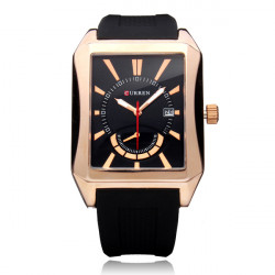 Curren 8144 Rectangle Dial Date Black Rubber Men Quartz Wrist Watch