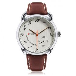 Curren 8147 Brown PU Leather Number Round Men Wrist Quartz Watch