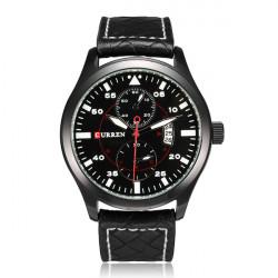 Curren 8151 PU Leather Date Calendar Military Round Men Wrist Watch