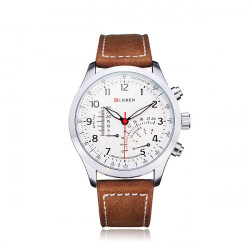 Curren 8152 PU Leather Military Number White Men Wrist Quartz Watch