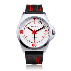 Curren 8153 Brown PU Leather Number Round Men Wrist Quartz Watch