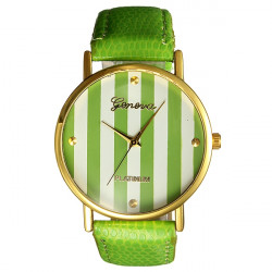 Cute Fashion Woman Stripe Big Dial PU Leather Round Quartz Wrist Watch