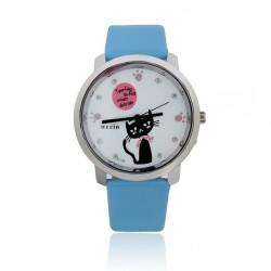 Cute Leather Cat Crystal Footprint Women Alloy Quartz Wrist Watch