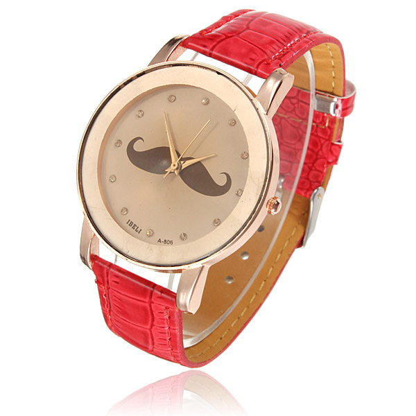 Cute Mustache Crystal Leather Women Quartz Bracelet Watch Stylish Watch