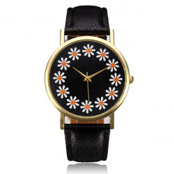 Daisy Floral Black PU Leather Band Waterproof Quartz Watch
