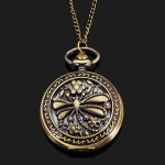Dragonfly Chain Necklace Alloy Women Analog Pocket Watch Watch