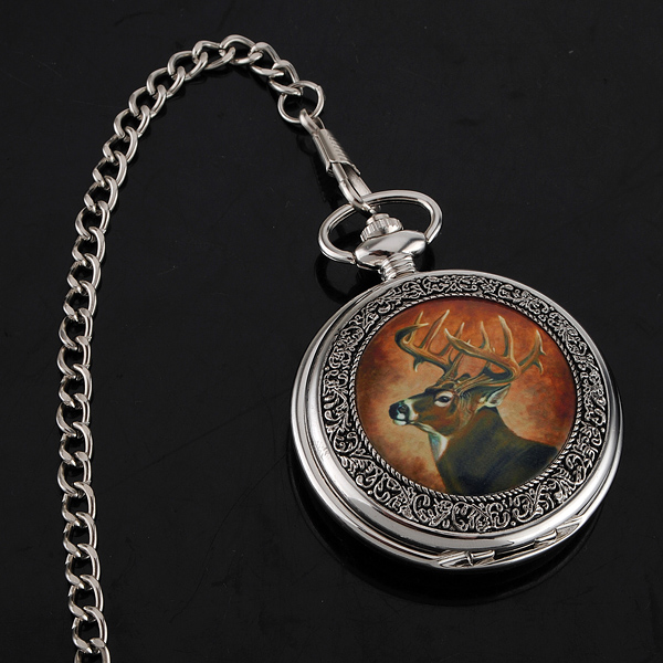 ELK Enamel  Pendent Pocket Watch with Necklace for gift
