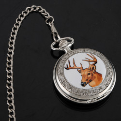 ELK Enamel Pocket Watch Pendent Necklace for Christmas gift