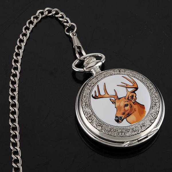 ELK Enamel Pocket Watch Pendent Necklace for Christmas gift