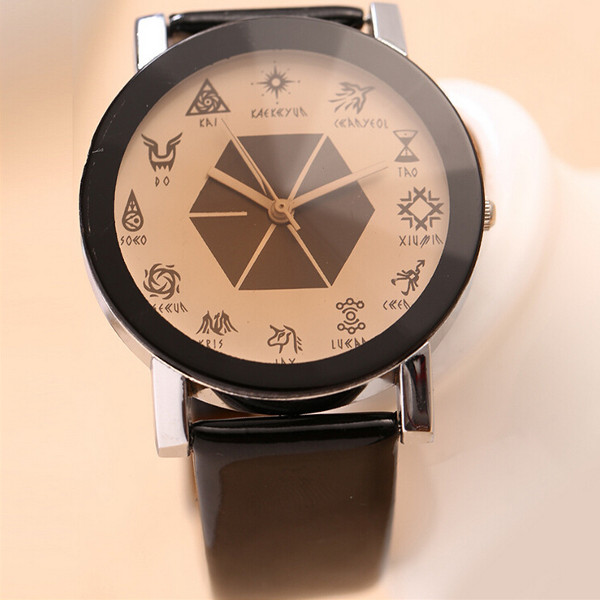 EXO Black White Colors Leather Band Couple Lovers Watches Watch