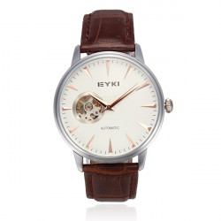 EYKI 8528 Mechanical Leather Transparent Waterproof Men Watch