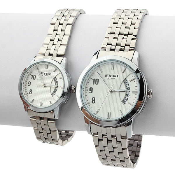 EYKI Lovers White Calendar Stainless Steel Analog Wrist Watch Watch