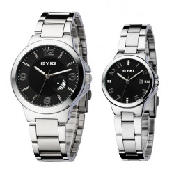 EYKI Stainless Steel Calendar Lovers Couple Wrist Watch Black Dial