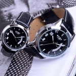 EYKI Stylish Black PU Band Lovers Couples Wrist Watch Watch