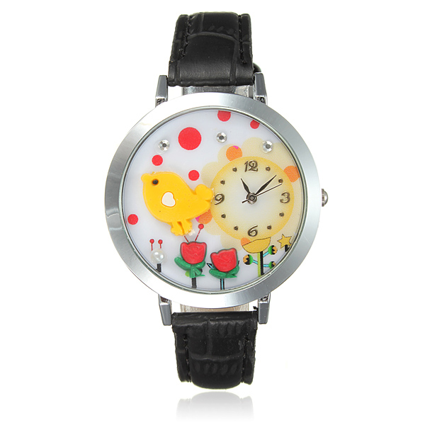Eiffel Tower Cat Bear Bird Guitar Black Leather Women Watch Watch