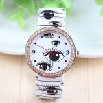 Elastic Band Eyes Printed Rhinestone Quartz Watch Watch